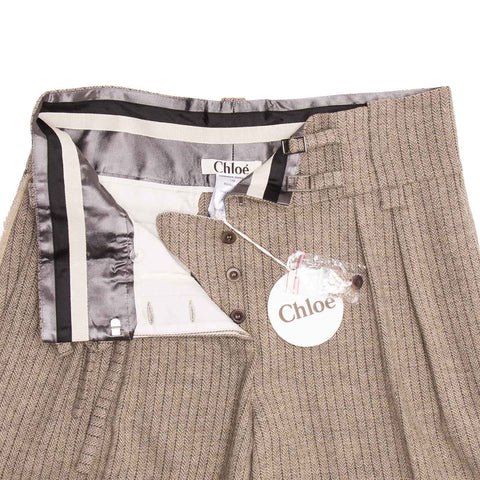 Chloe Khaki Wool & Sequins Bermuda Pants, Size 42 (French)