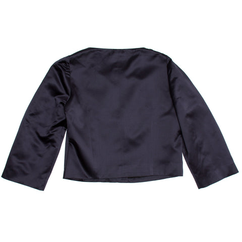 Chloe Navy Silk Satin Jacket, Size 44 (French)