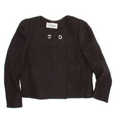 Chloe Black Wool Cropped Blazer, Size 44 (French)