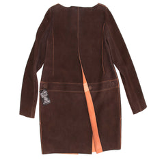 Chloe Brown & Orange Suede Coat, Size 40 (French)
