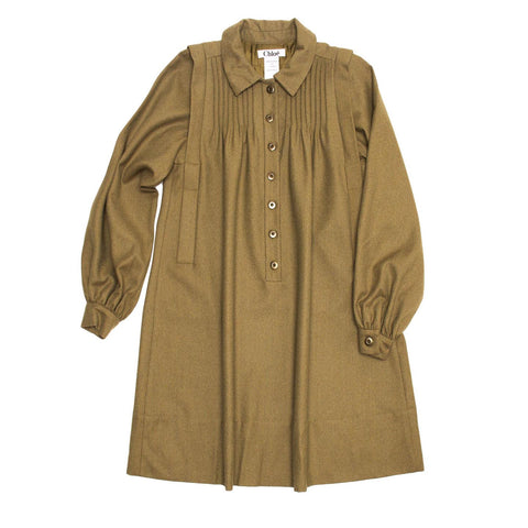 Army Green Wool Shirt Dress