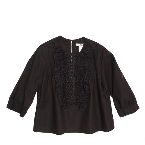 Chloe Black Linen Top With Ruffles, Size 40 (French)