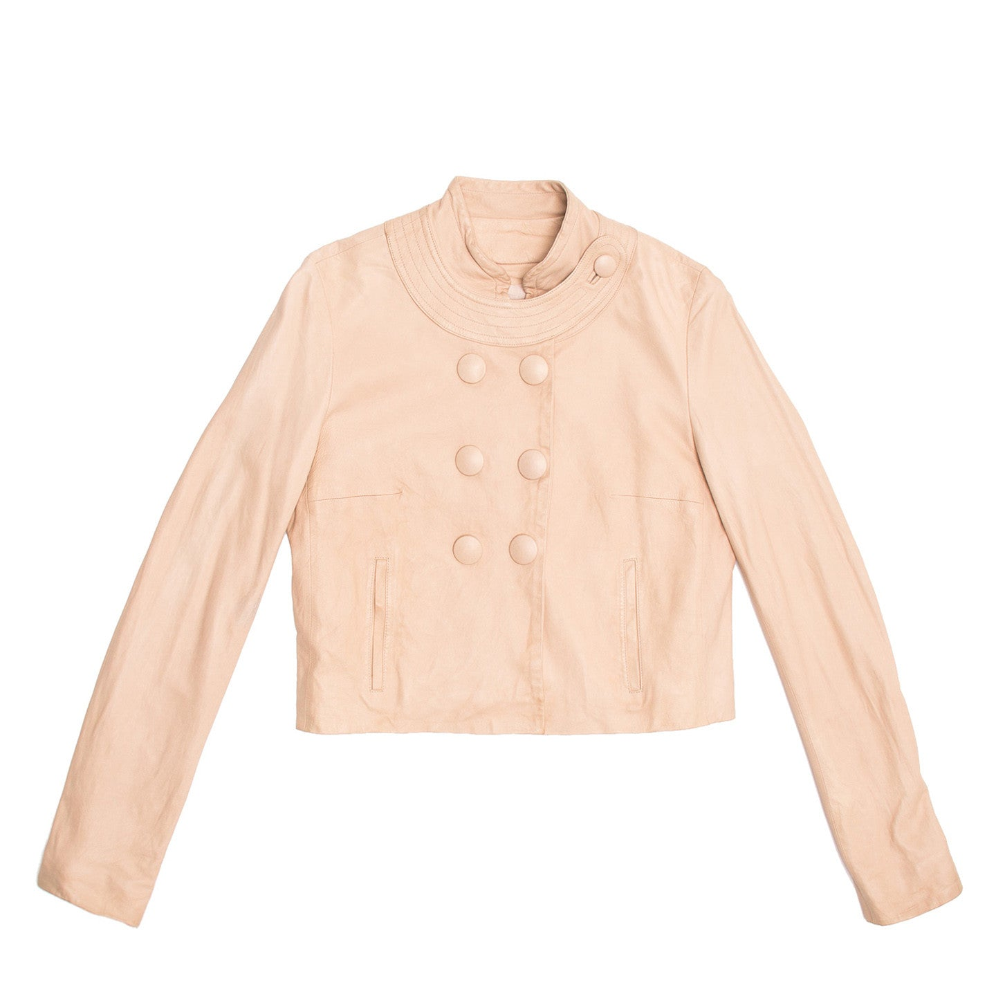 Chloe Pale Pink Leather Jacket, Size 42 (French)