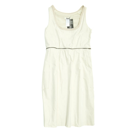 Chloe Ivory Sleeveless Dress, Size 42 (French)