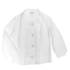 Chloe White Linen Pleated Shirt, Size 40 (French)