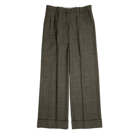 Chloe Musk Green Wool Plaid Pants, Size 44 (French)