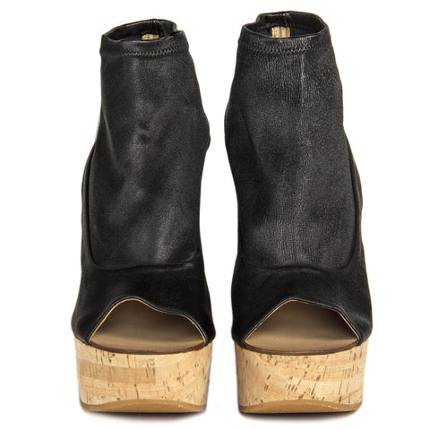 Chloe Black Leather & Cork Glove Wedges, Size 40.5 (Italian)
