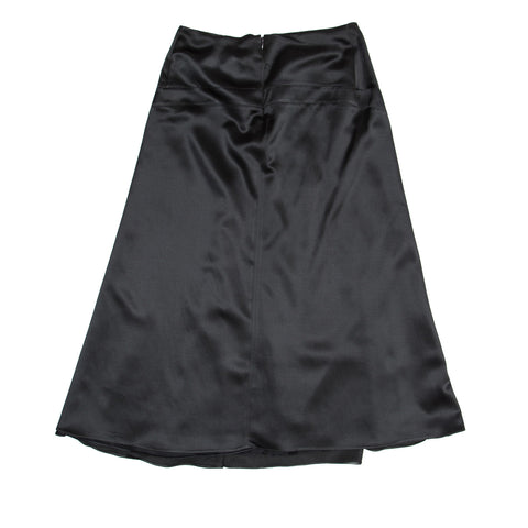Green Grey Silk Satin Skirt