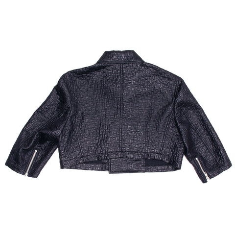 Comme Des Garcons Ink Blue Cropped Motorcycle Jacket, Size L