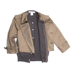 Comme Des Garcons Olive & Grey Trench Style Jacket, Size M
