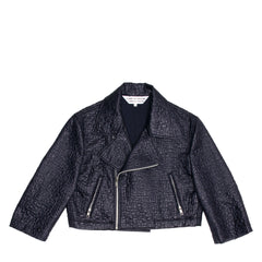Ink Blue Cropped Motorcycle Jacket