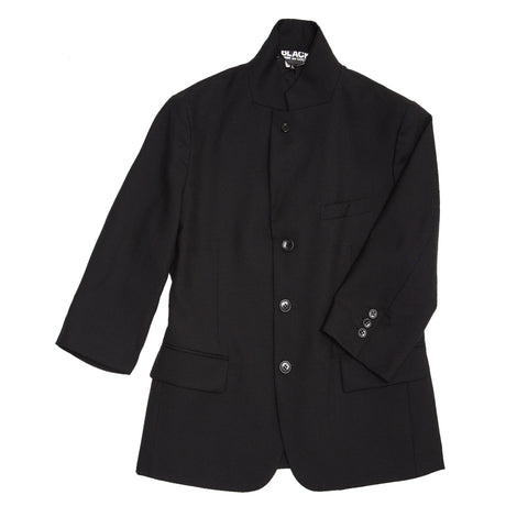 Comme Des Garcons Black Wool 3/4 Sleeve Blazer, Size S