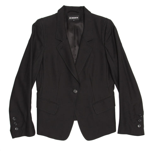 Find an authentic preowned Ann Demeulemeester Black Viscose Blazer, size 42 (French) at BunnyJack.