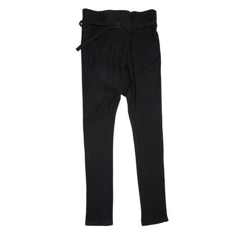 Black Wool Belted Pants
