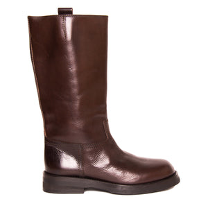 Find an authentic preowned Ann Demeulemeester Chocolate Brown Leather Boots, size 40 (Italian) at BunnyJack.