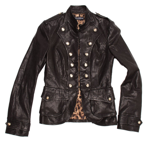 Find an authentic preowned Dolce & Gabbana Black Distressed Leather Military Jacket, size 44 (Italian) at BunnyJack.