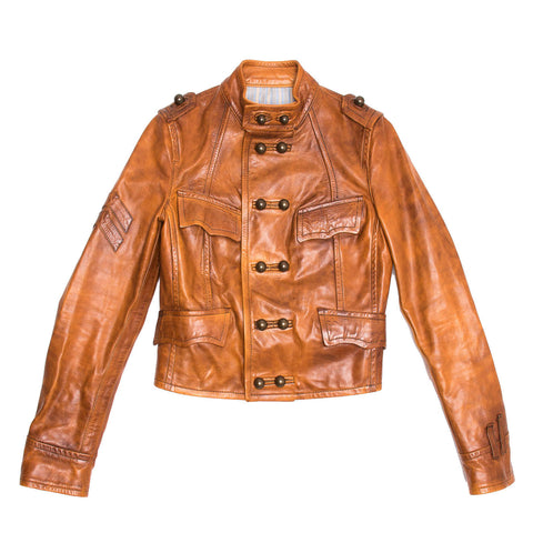 Burnt Sienna Leather Military Jacket
