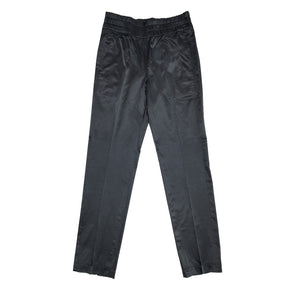 Black Shiny Elastic Waistband Pants