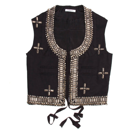Find an authentic preowned Givenchy Black Cotton & Rhinestone Vest, size 42 (French) at BunnyJack, where a portion of every sale goes to charity.