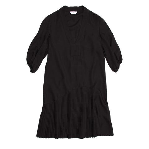 Givenchy Black Wool Pleated Dress, size 42 (French)