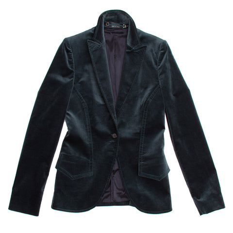 Find an authentic preowned Gucci Forest Green Velvet Blazer, size 44 (Italian) at BunnyJack, where a portion of every sale goes to charity.