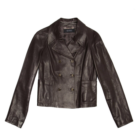 Gucci Dark Brown Leather Jacket, size 42 (Italian)