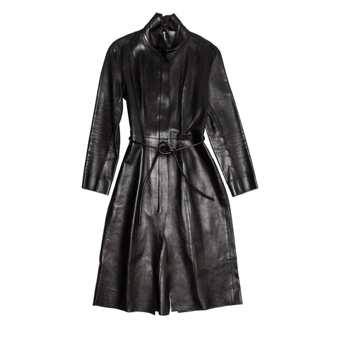Gucci Black Leather Long Coat, size 46 (Italian)