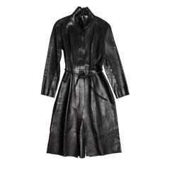 Find an authentic preowned Gucci Black Leather Long Coat, size 46 (Italian) at BunnyJack, where a portion of every sale goes to charity.