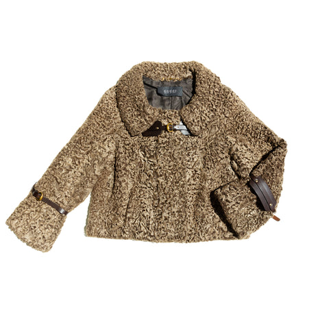 Gucci Cropped Brown Persian Lamb Jacket, Size 42 (Italian)
