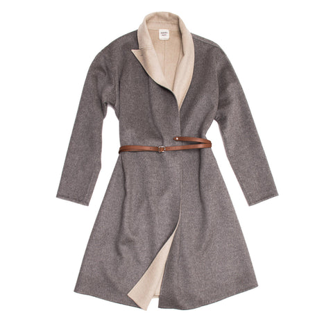 Hermès Grey Cashmere Belted Coat, size 40 (French)