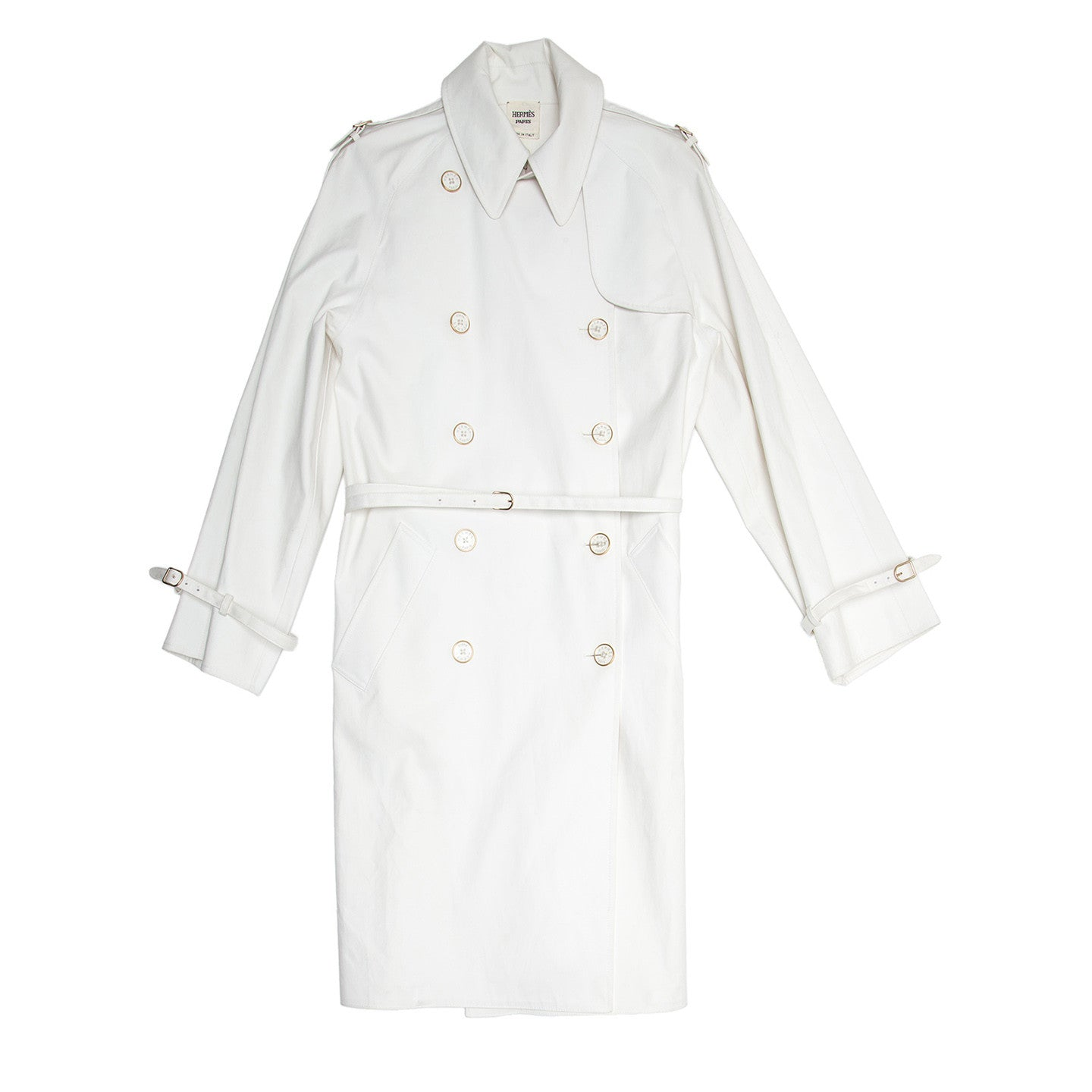 Find authentic preowned Hermès White Double Breasted Trench Coat, size 42 (Italian) at BunnyJack, where a portion of every sale goes to charity.