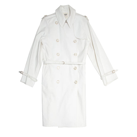 Hermès White Double Breasted Trench Coat, size 42 (Italian)