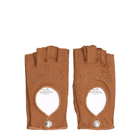 Hermes Tan Fingerless Driving Gloves, size 8