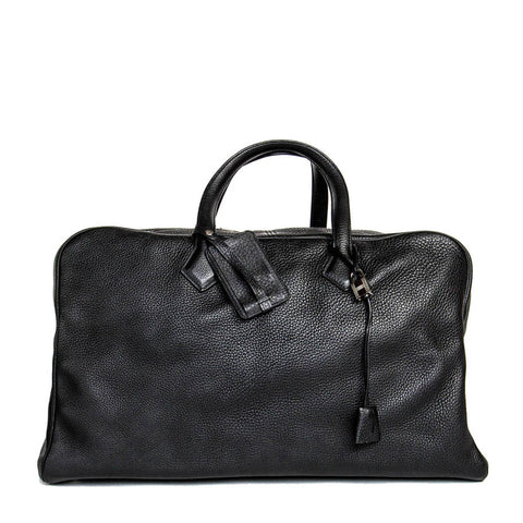 Hermès Black Leather Victoria II Travel Bag