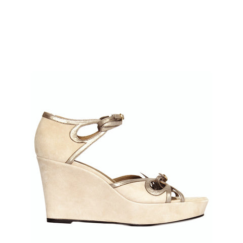Hermès Taupe Suede Wedge Sandals, size 40.5 (Italian)