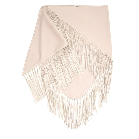 Taupe Triangular Fringed Shawl