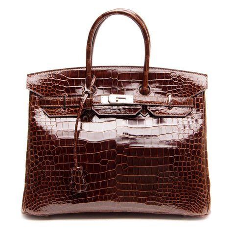 Hermès Chocolate Brown Porosus Crocodile Bag 35cm w/ Palladium Hardware