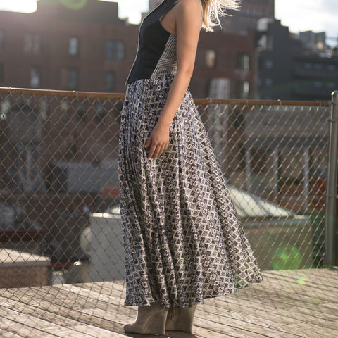 Black & White Long Silk Skirt
