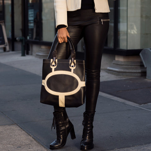 Black Leather & Canvas Bag