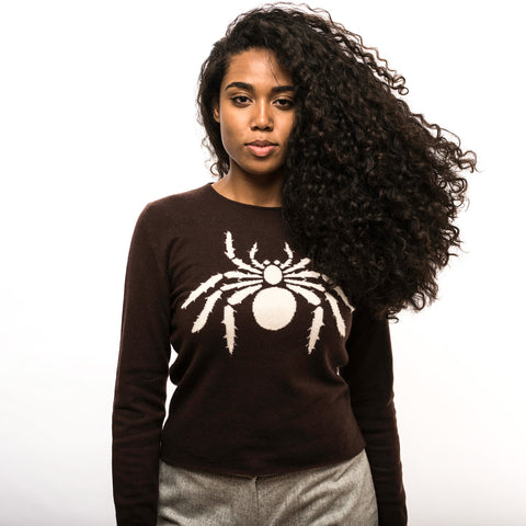 Brown Cashmere Spider Sweater