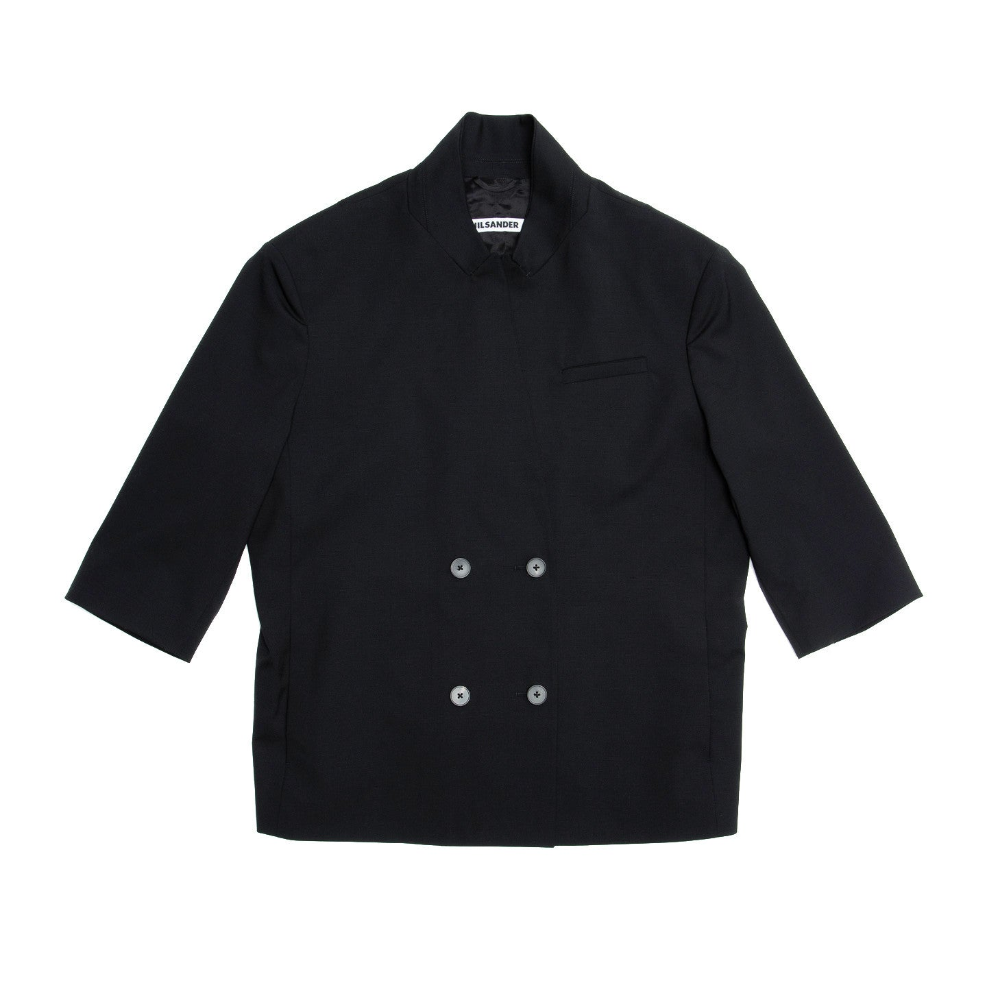 Find an authentic preowned Jil Sander Black Wool Boxy Jacket, size 42 (French) at BunnyJack, where a portion of every sale goes to charity.