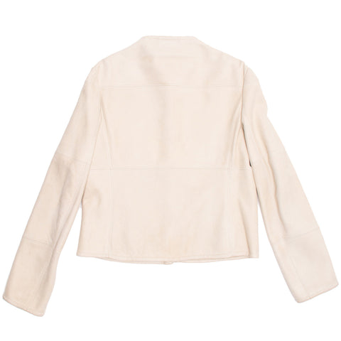 Find an authentic preowned Jil Sander Cream Shearling Racer Jacket, size 40 (French) at BunnyJack, where a portion of every sale goes to charity.