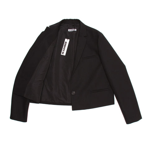 Find an authentic preowned Jil Sander Black Wool Cropped Blazer, size 40 (French) at BunnyJack, where a portion of every sale goes to charity.