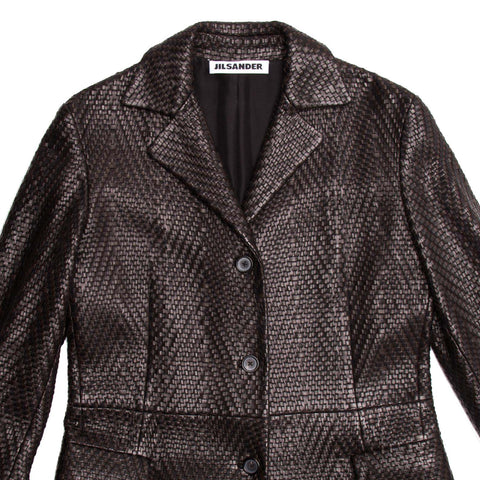 Find authentic preowned Jil Sander Brown Woven Leather Coat, size 38 (French) at BunnyJack, where a portion of every sale goes to charity.