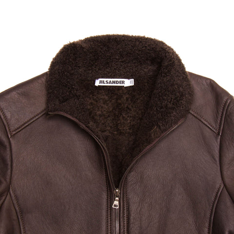 Brown Shearling Cropped Jacket