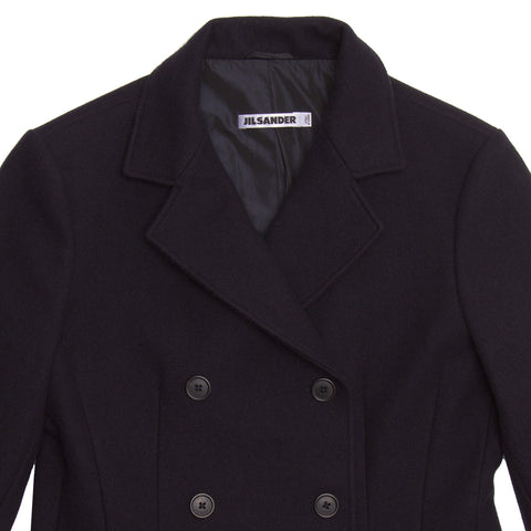 Find an authentic preowned Jil Sander Navy Wool Double Breasted Jacket, size 40 (French) at BunnyJack, where a portion of every sale goes to charity.
