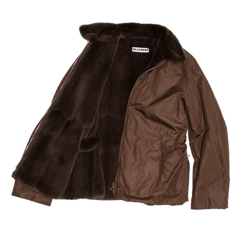 Brown Nylon & Fur Jacket