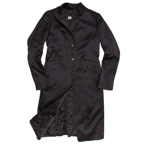 Jil Sander Black Silk Satin Coat, size 40 (French)