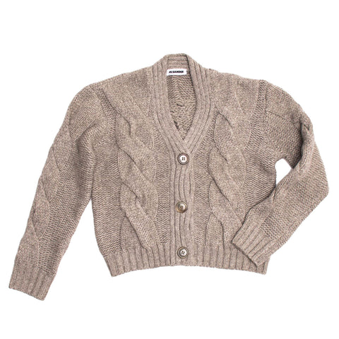 Jil Sander Taupe Cropped Cardigan, size 38 (French)