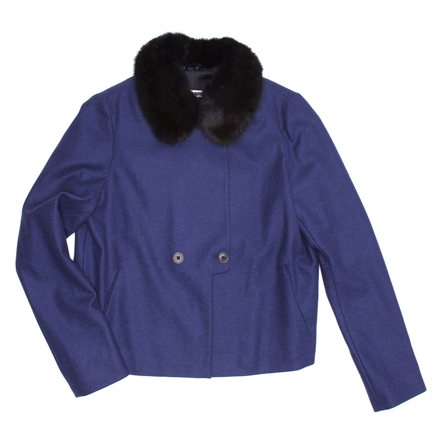 Find an authentic preowned Jil Sander Blue Wool & Fur Short Coat, size 44 (Italian) at BunnyJack, where a portion of every sale goes to charity.
